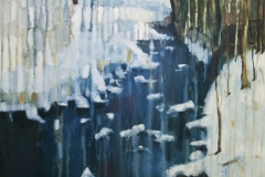 Meanwood Beck in Snow Oil on Canvas 108x65 2015